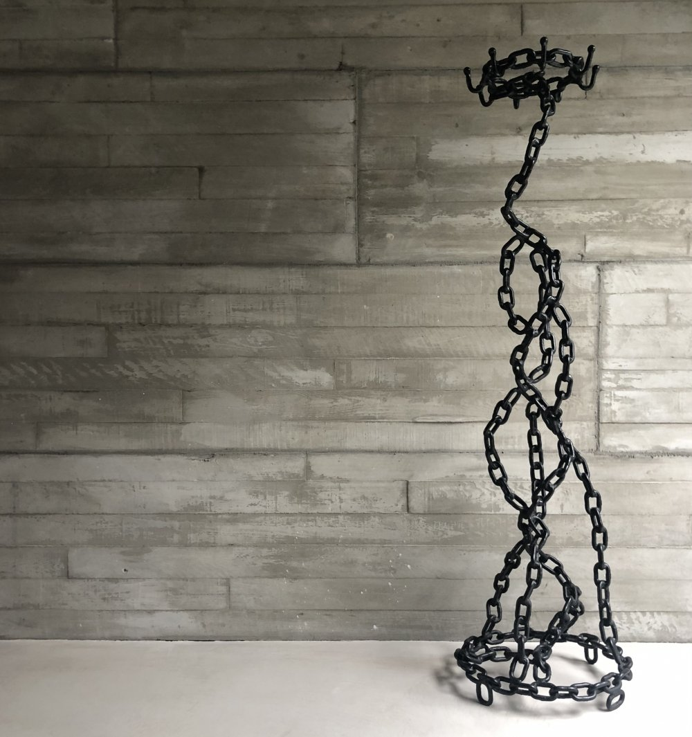 Brutalist iron chain coatrack/artpiece, 1970s