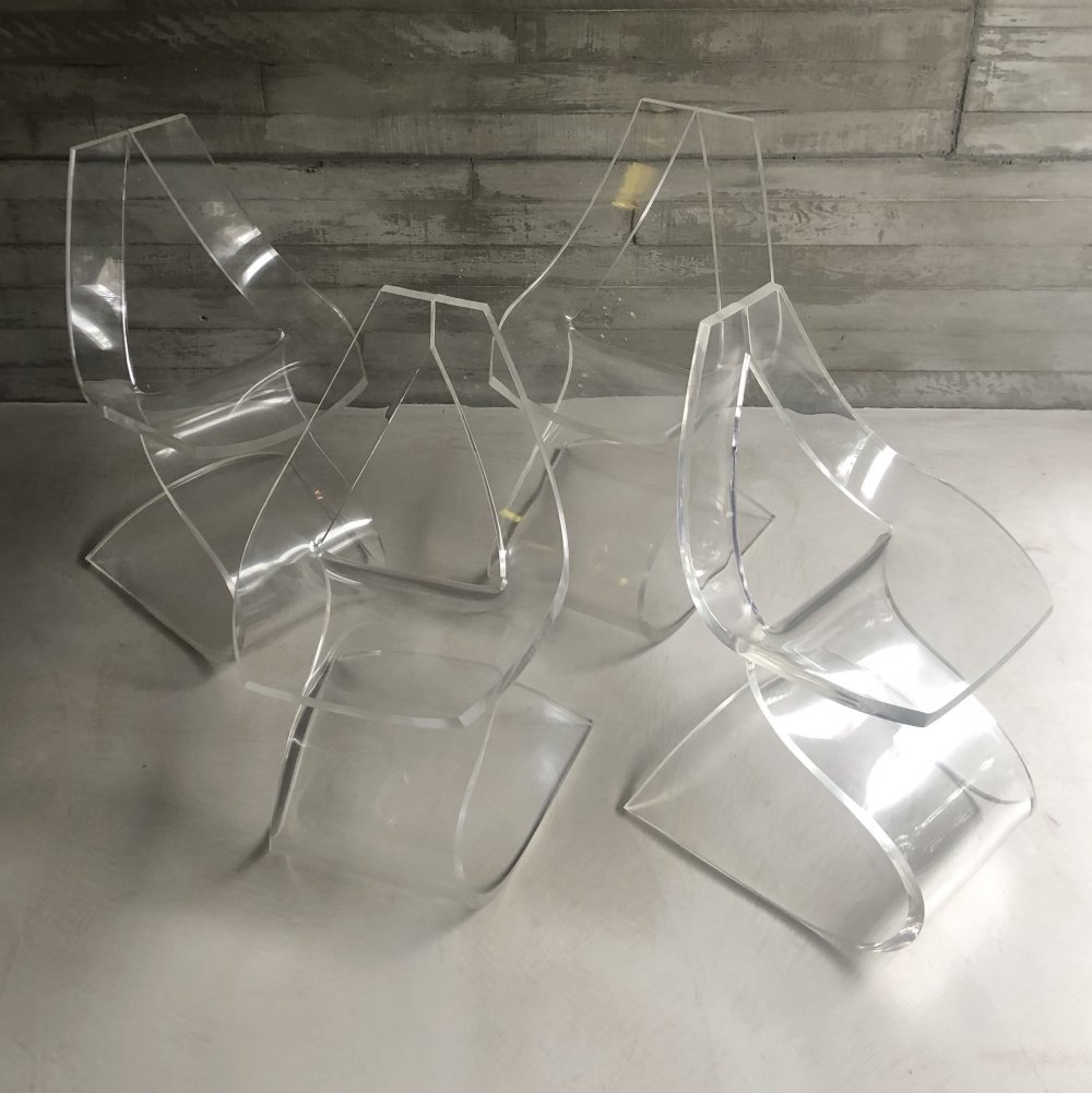 Set of 4 sculptural lucite dining chairs by Michel Dumas, 1970s