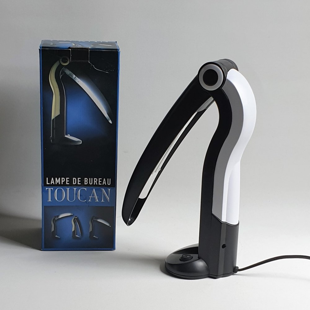 Toucan desk lamp by H.T.Huang in box, 1980s / 1990s