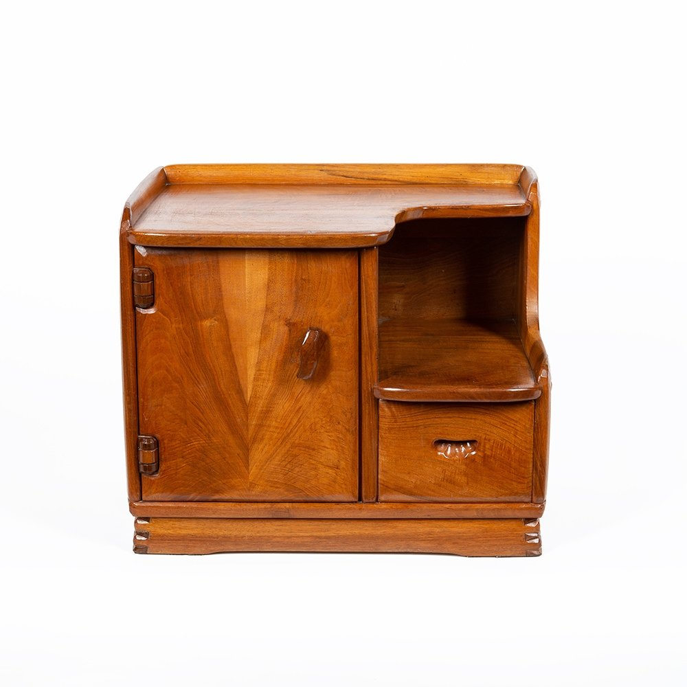 Cabinet in carved solid walnut by Franz-Xaver Sproll
