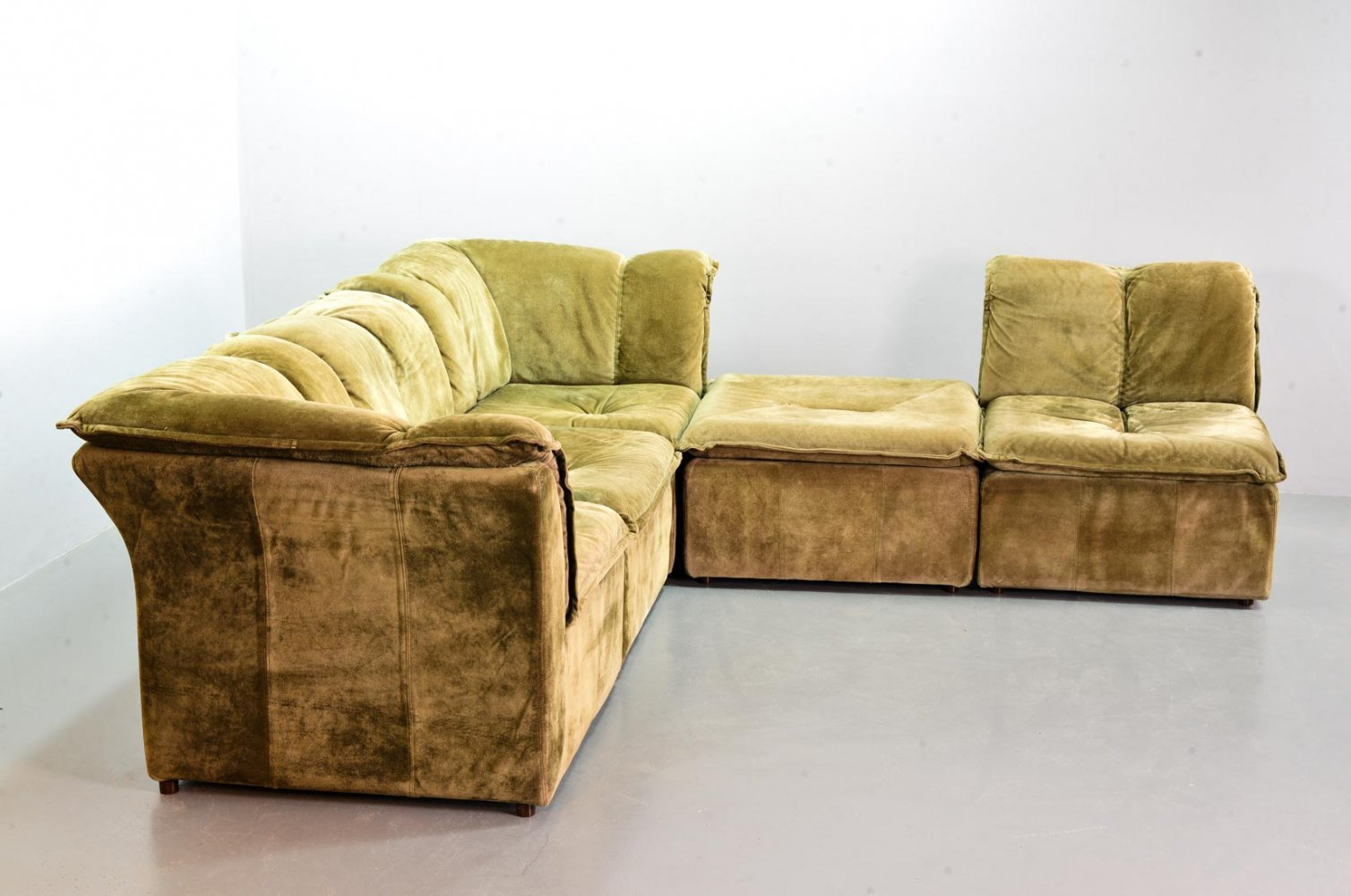 Laauser Moss Green Nubuck Leather Modular Patchwork Sofa with 5 Elements, 1970s