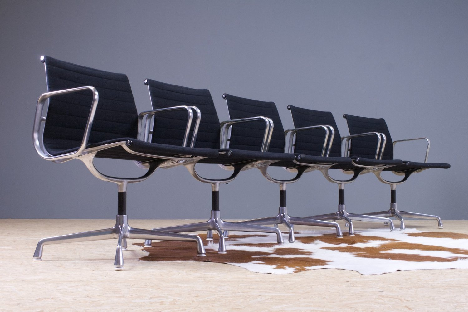 EA107 Eames set of 5 chairs in black by Herman Miller, USA 1970s