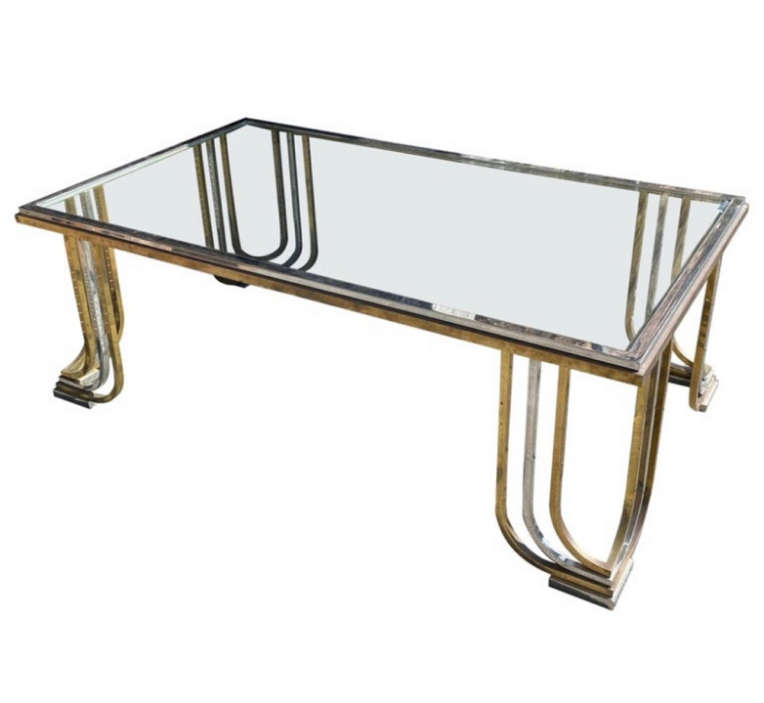 1970s Mid-Century Modern Steel Chromed & Brass Coffee Table by Banci Firenze