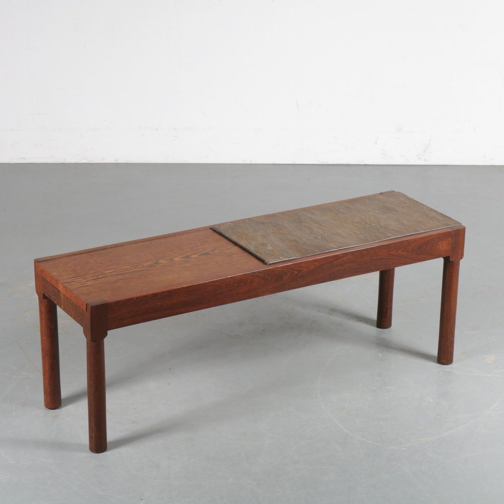 Wengé with stone side table, the Netherlands 1960s