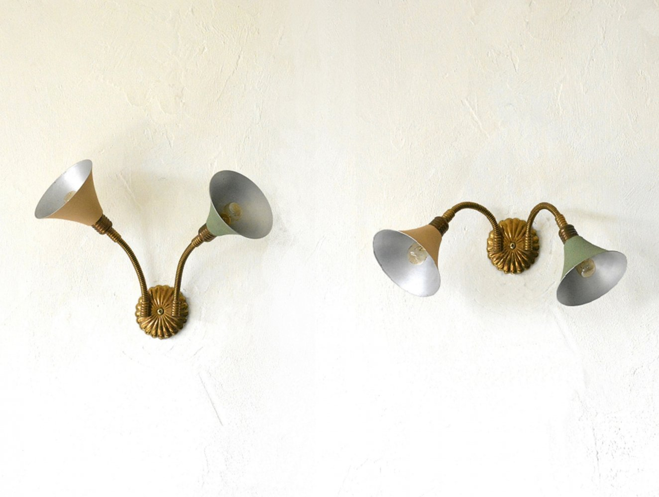 Rare pair of Italian wall lights, 1950s