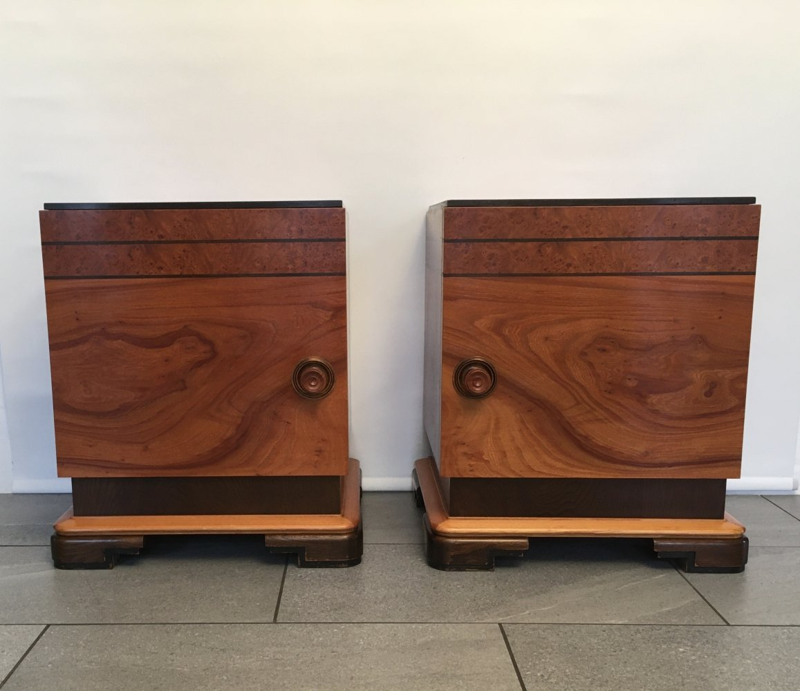 Pair of Art Deco Bedside Tables / Night Stands, 1930- 1940s