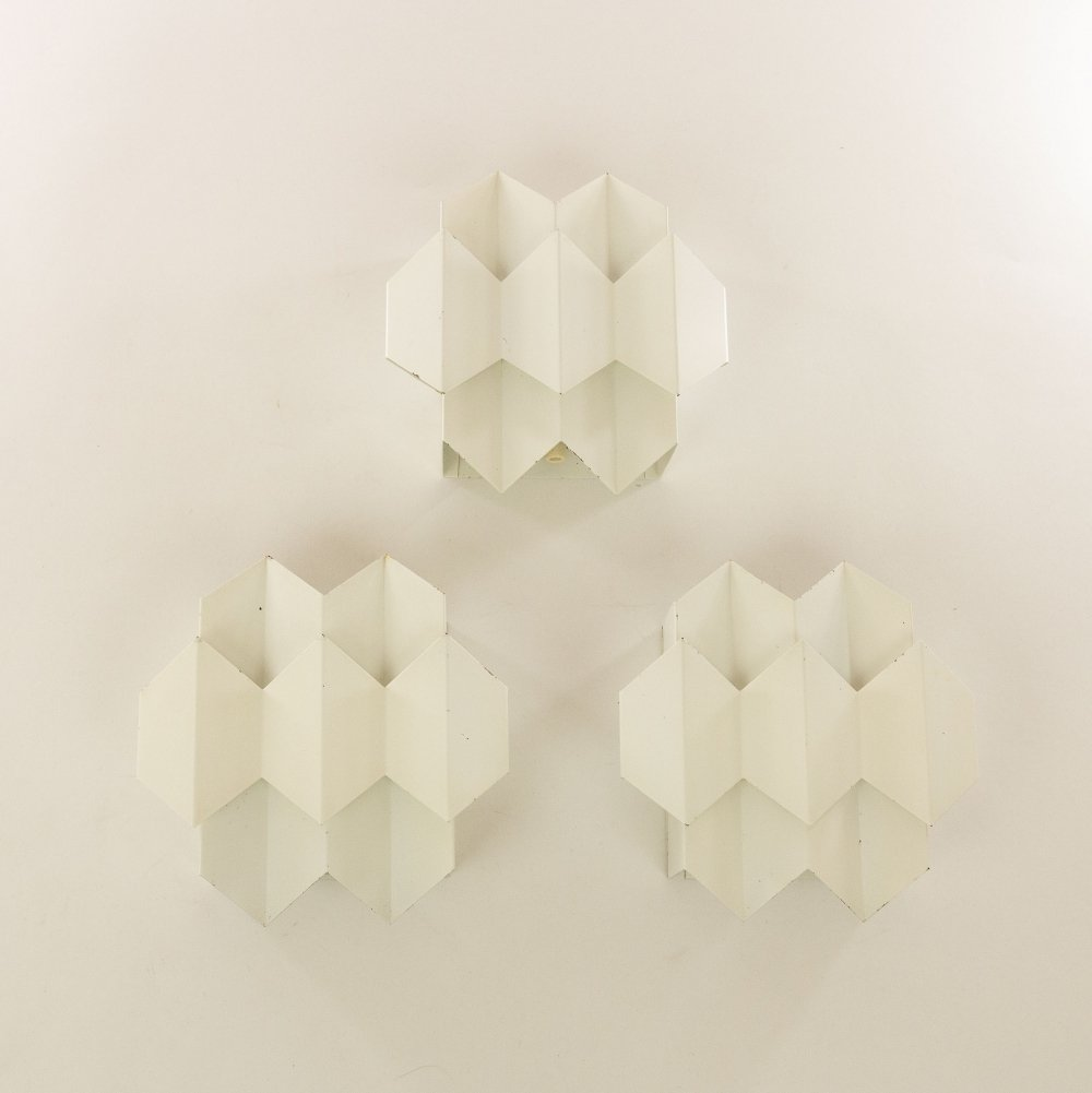 Set of three white Septet wall lamps by Bent Karlby for Lyfa