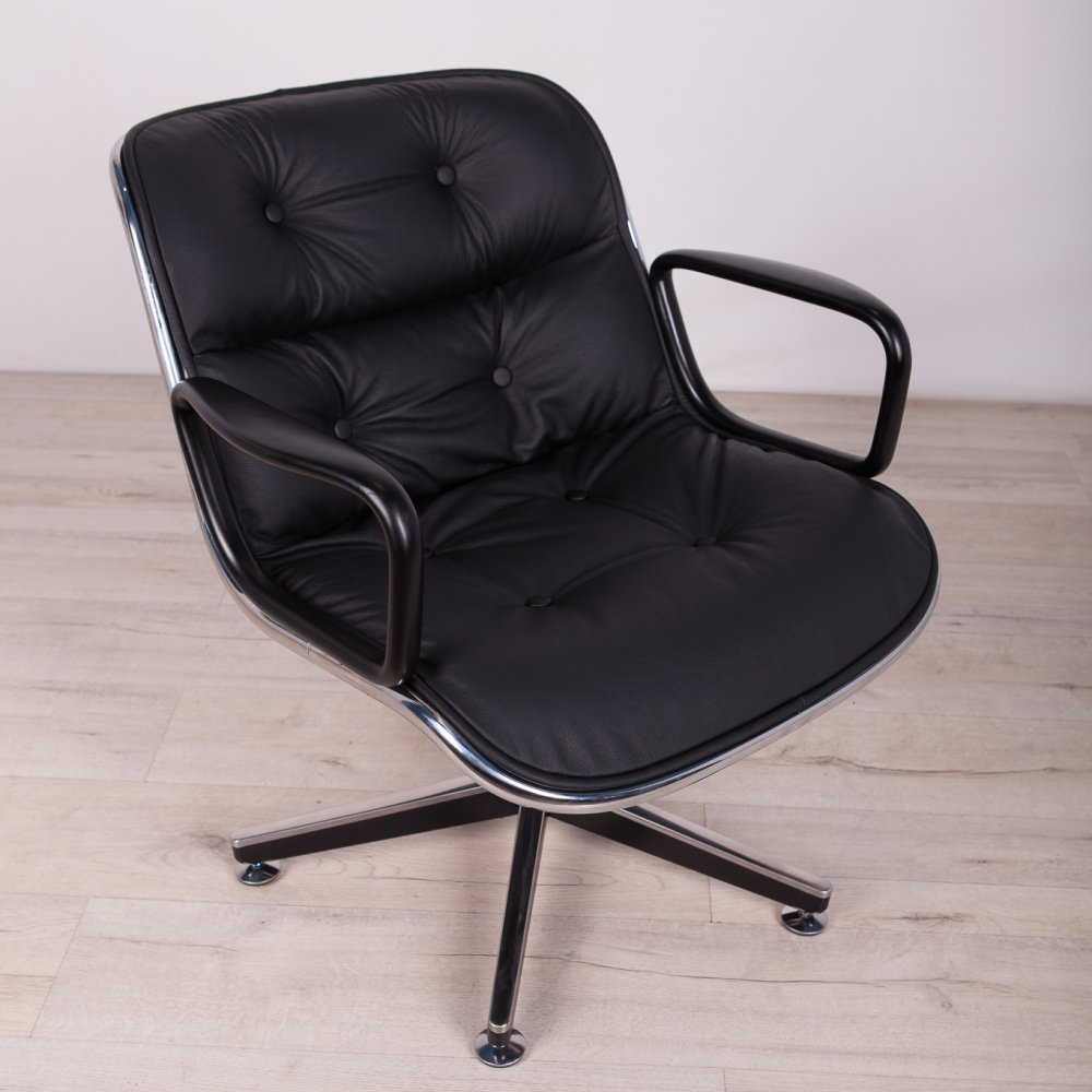 Black Leather Desk Chair by Charles Pollock for Knoll Inc. / Knoll International, 1970
