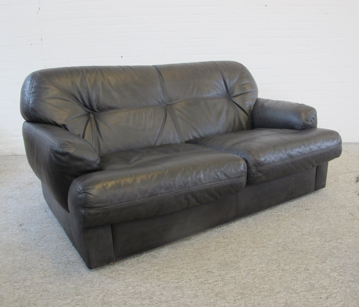 Vintage Black Leather two seater lounge Sofa, 1970s