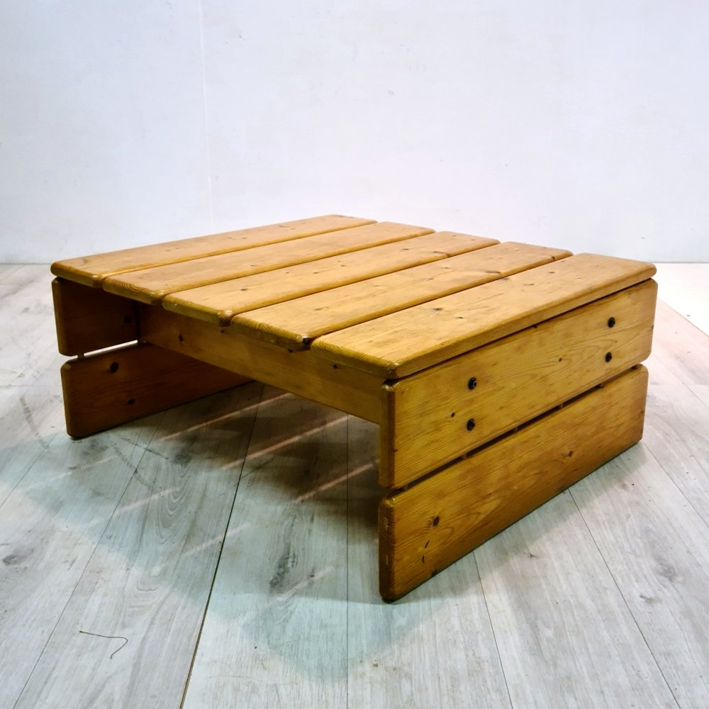 Solid pine slatted coffee table, Sweden 1970s