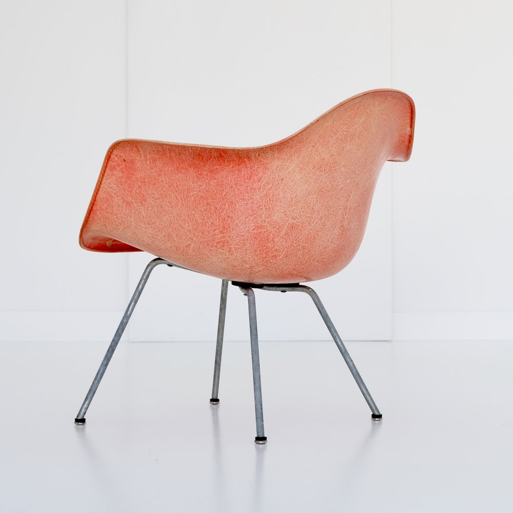 1st generation rope edge red/orange faded out to salmon Low/Lounge Height Armchair X-Base by Charles & Ray Eames, 1950s