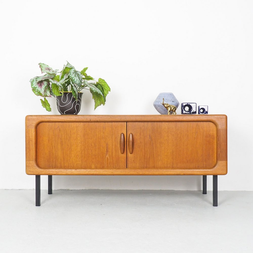 Low teak sideboard with tambour doors by Dyrlund, 1960