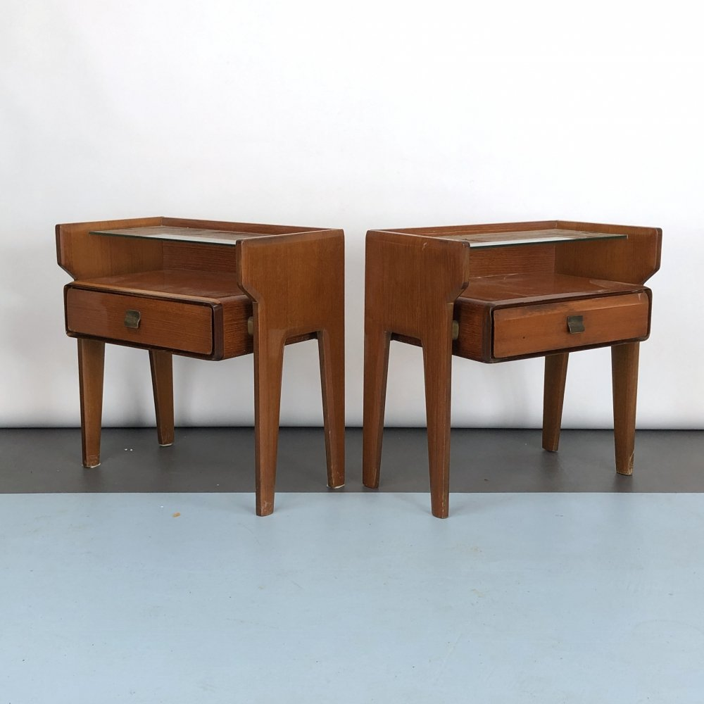 Set of two Vintage Italian bedside tables by Vittorio Dassi, 1950s