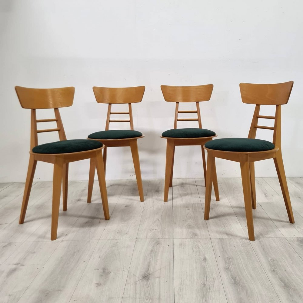 Set of 4 mid century beech dining chairs, Italy 1960s