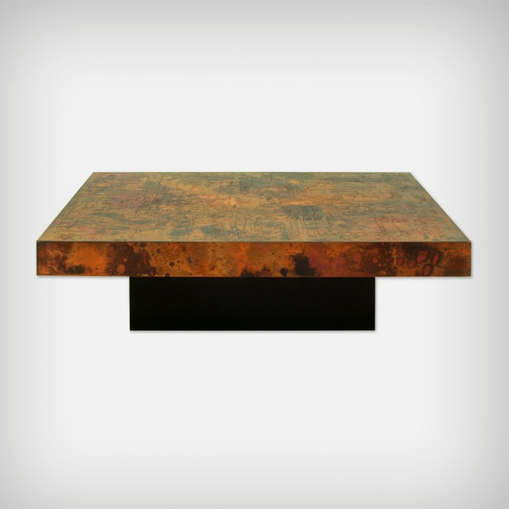Large Etched & Fire Oxidized Copper Coffee Table by Bernhard Rohne, 1966