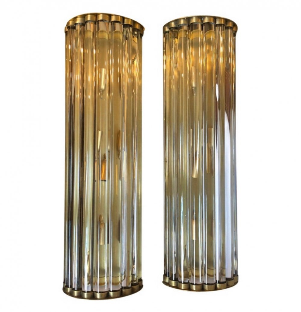 1970s set of Two Huge Mid-Century Modern Brass & Glass Italian Wall Sconces