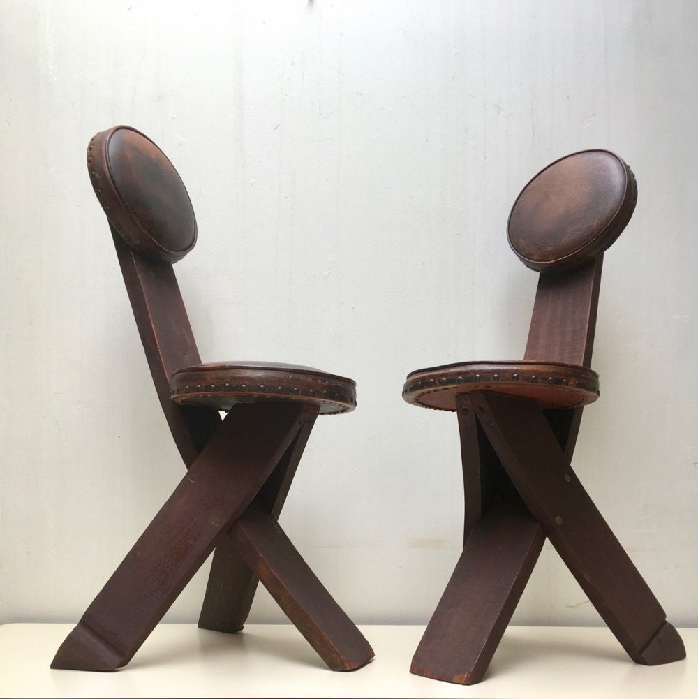 Set of two Dutch stools by AGWO, 1930