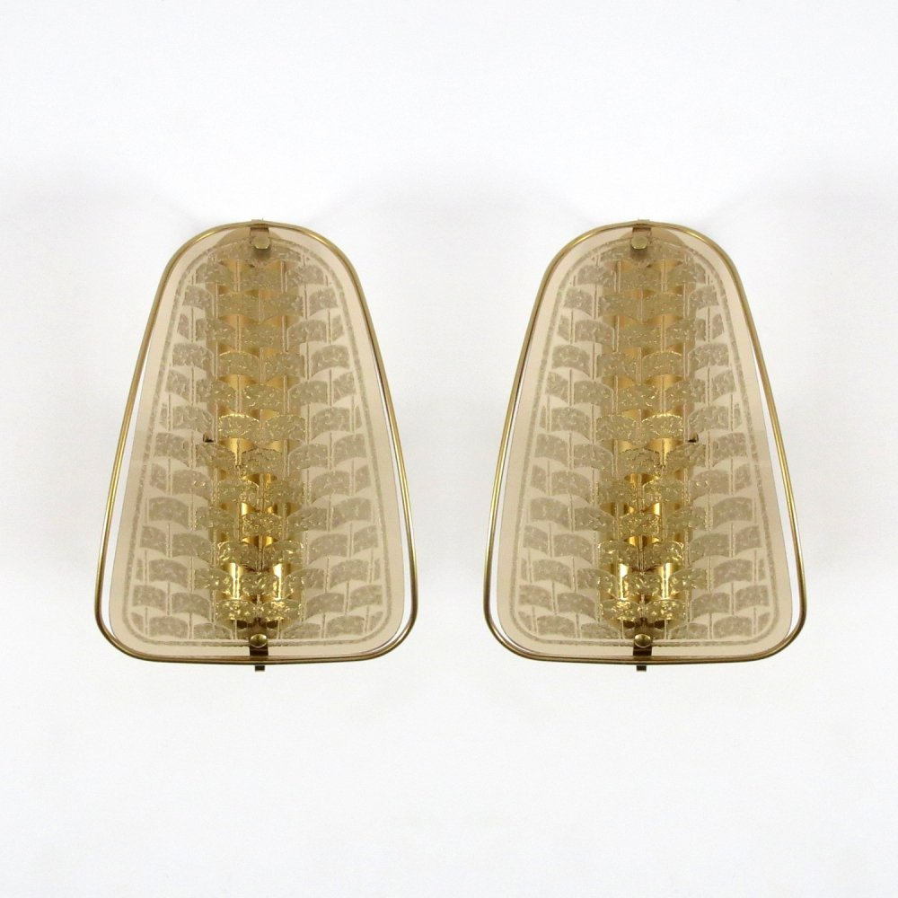 Pair of gilded metal & smoked glass wall lights, 1970s