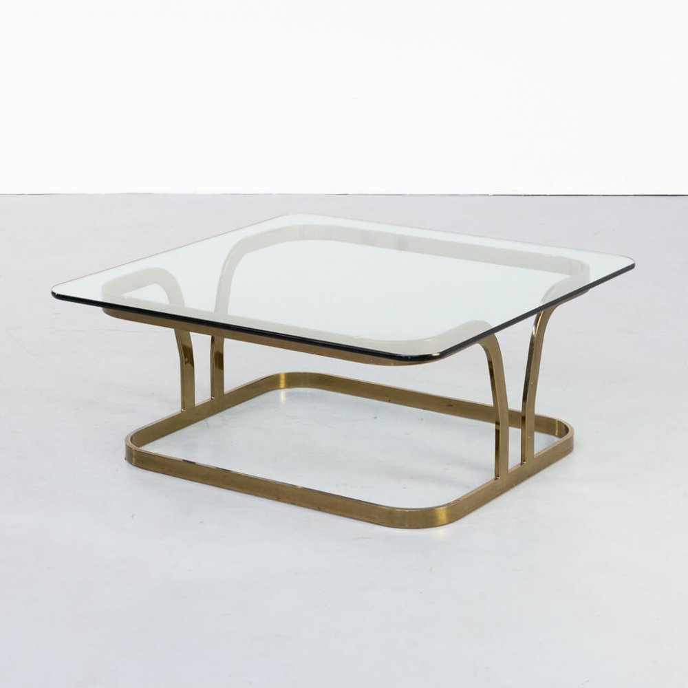 70s Brass square & glass coffee table