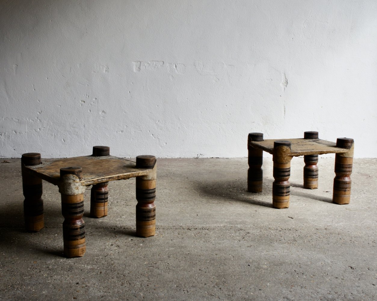 Pair of 20th Century African Hard Wood Stools, 1960s