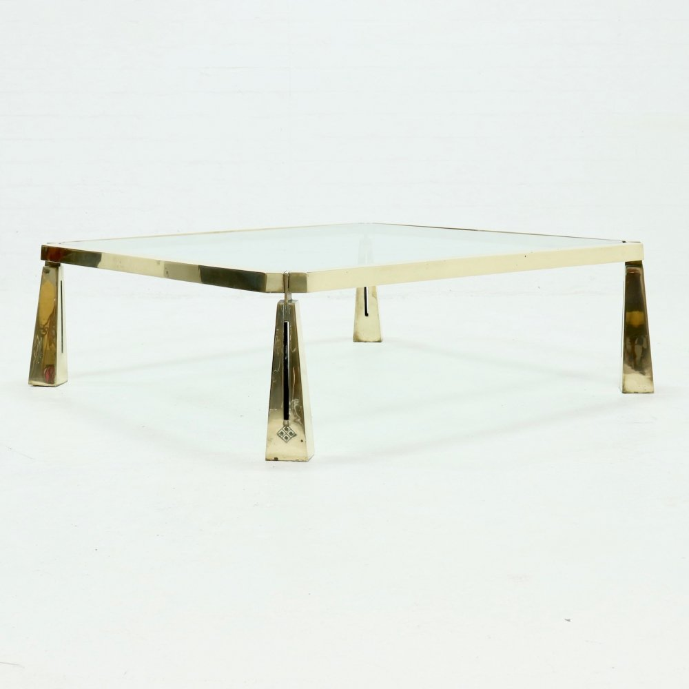 Rare Large Brutalist Solid Brass Coffee Table by Peter Ghyczy, 1980s
