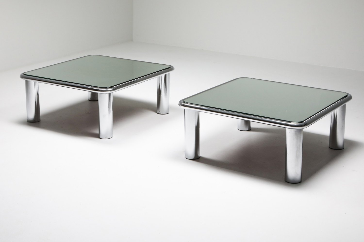 Pair of Mirrored Coffee Tables by Gianfranco Frattini for Cassina, 1960