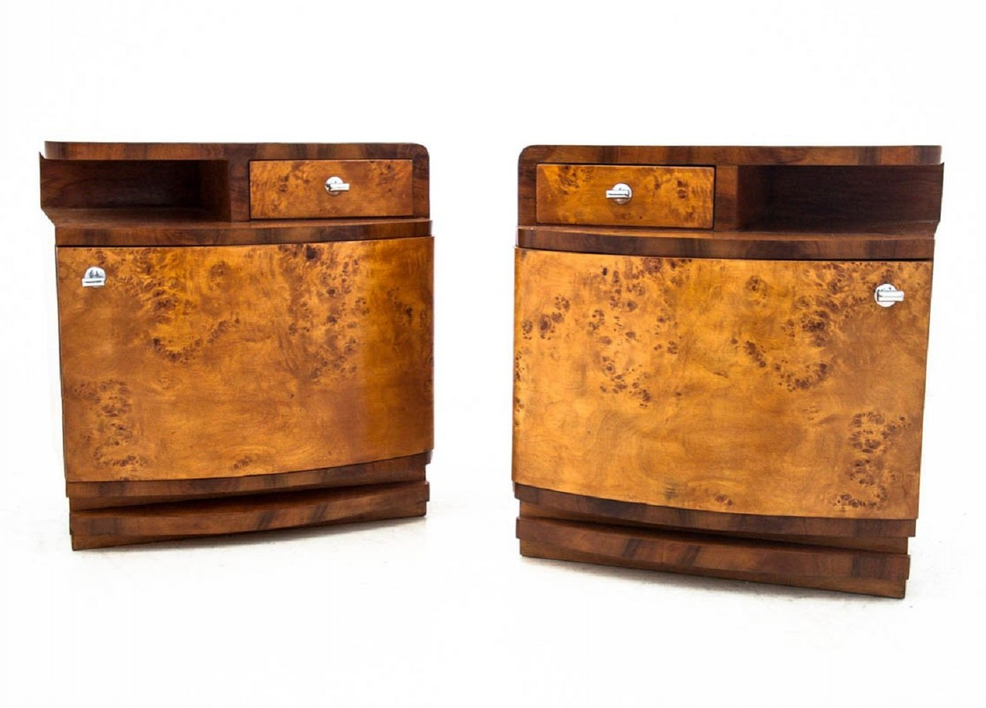 Pair of Art Deco bedside tables, Poland 1950s