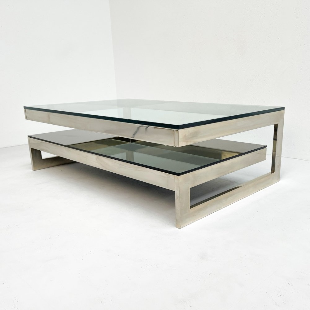 G shaped coffee table by Belgo Chrom, 1980s