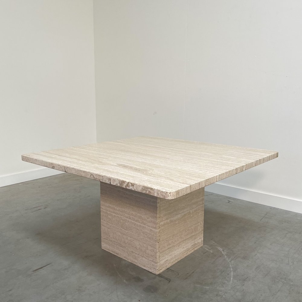 Exceptional travertine coffee table, 1970s