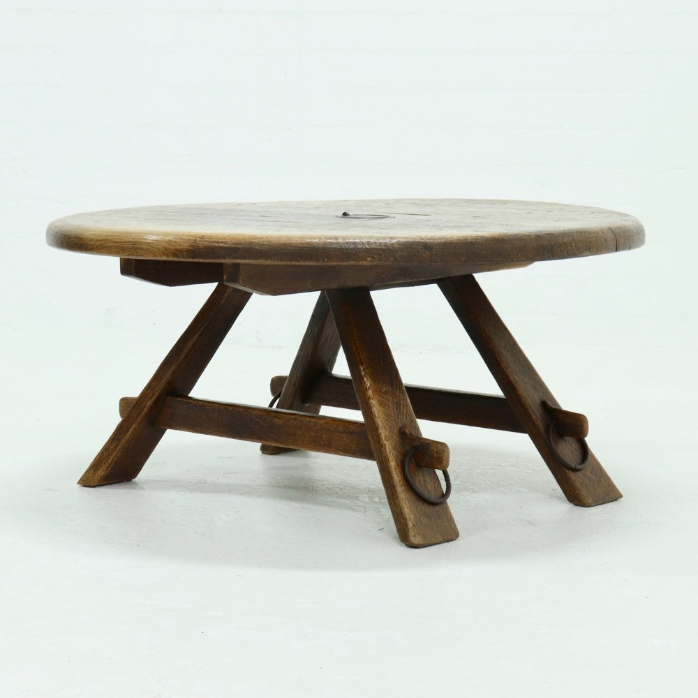 French Artisan Rustic Coffee Table in Solid Oak, 1950s
