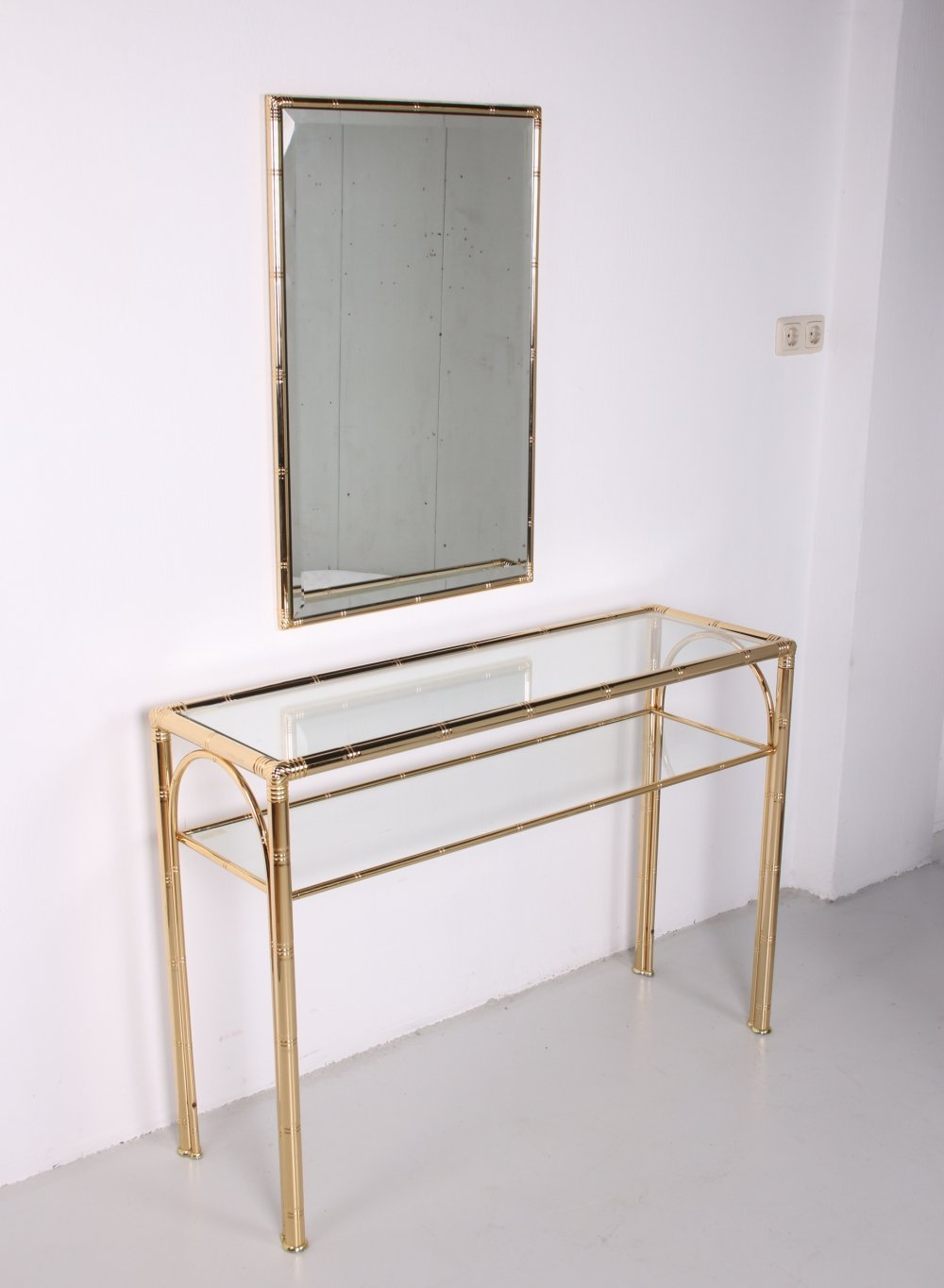 Bamboo Style Console Side table with mirror, 1960s