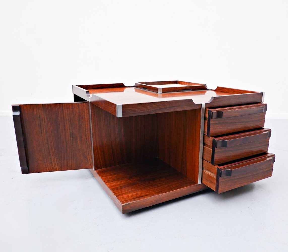 Italian square storage coffee table in rosewood, 1960s