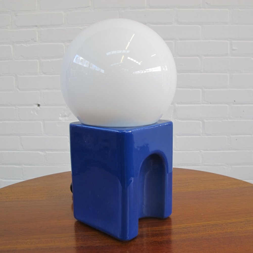 Vintage space age ceramic glass ball table lamp, 70s