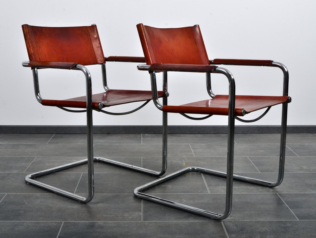 Set of two S34 armchairs by Linea Veam in cognac brown leather