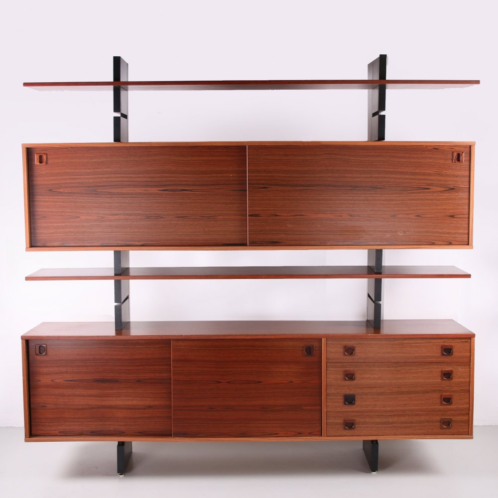 Danish wall unit with cupboards & bookshelves, 1960s