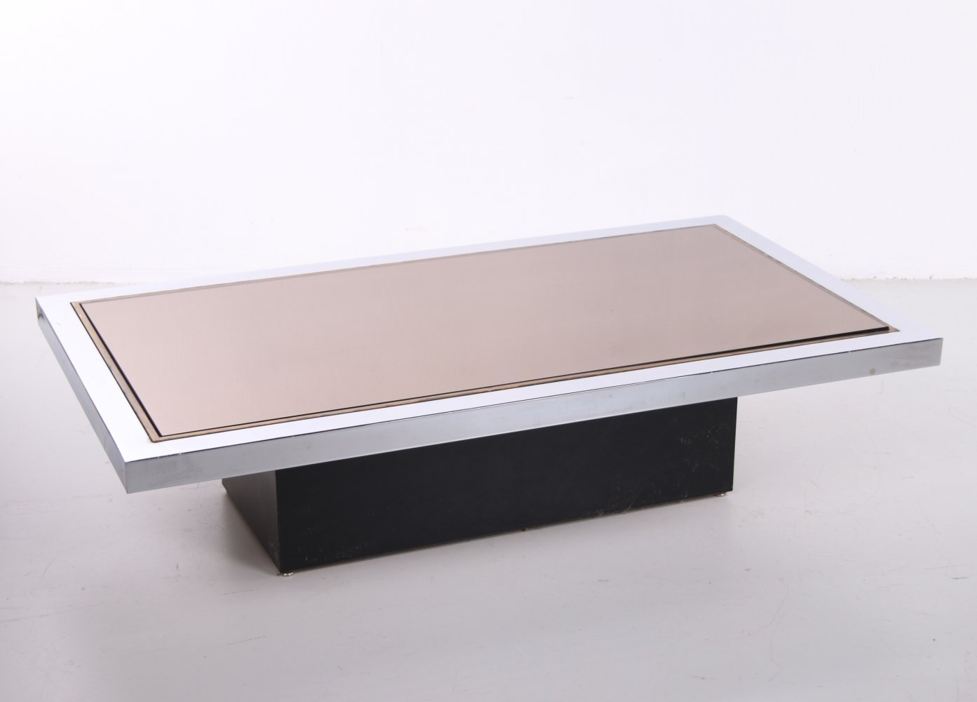 Mirrored Glass Coffee Table from Belgo Chrom / Dewulf Selection, 1970s