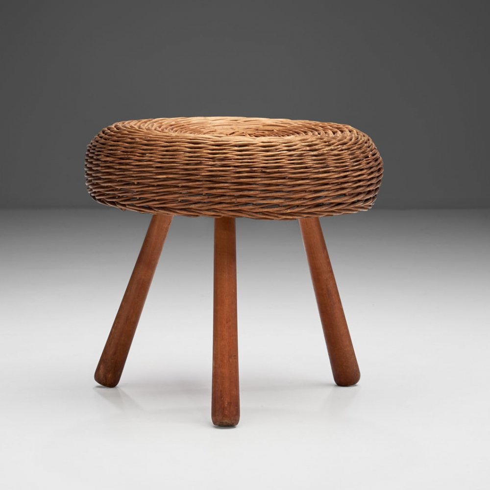 Tony Paul Tripod Wicker Stool, America 1950s