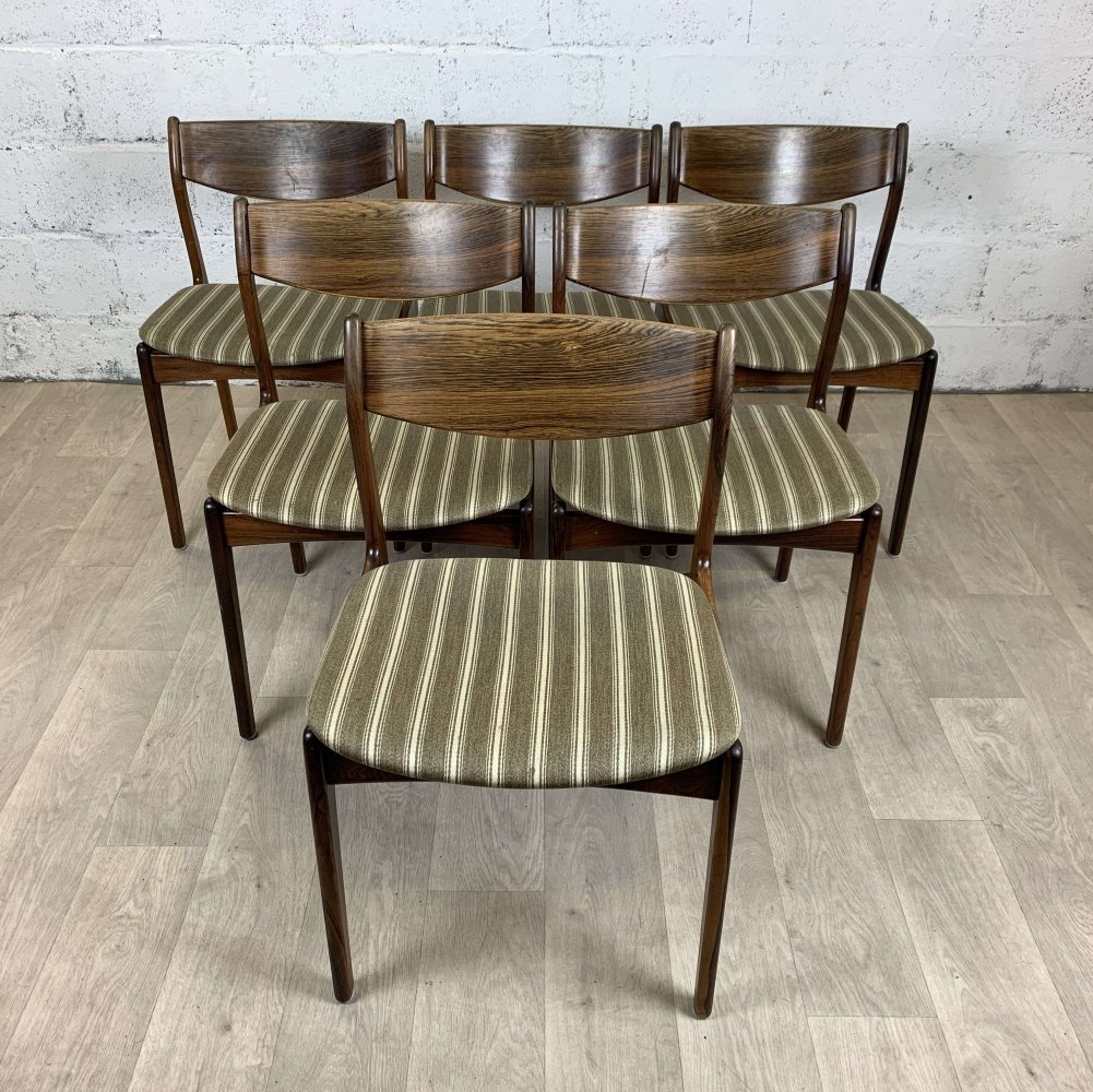 Set of 6 palissander chairs by P.E. Jorgensen for Farso Stolefabrik, 1960s