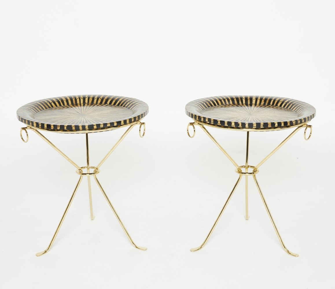 Pair of Romeo Paris brass straw marquetry gueridon tables, 1970s