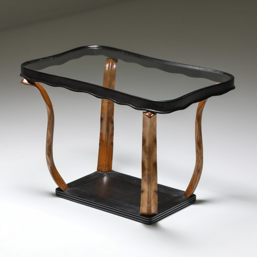Italian Art Deco occasional table with glass top by Paolo Buffa, 1940