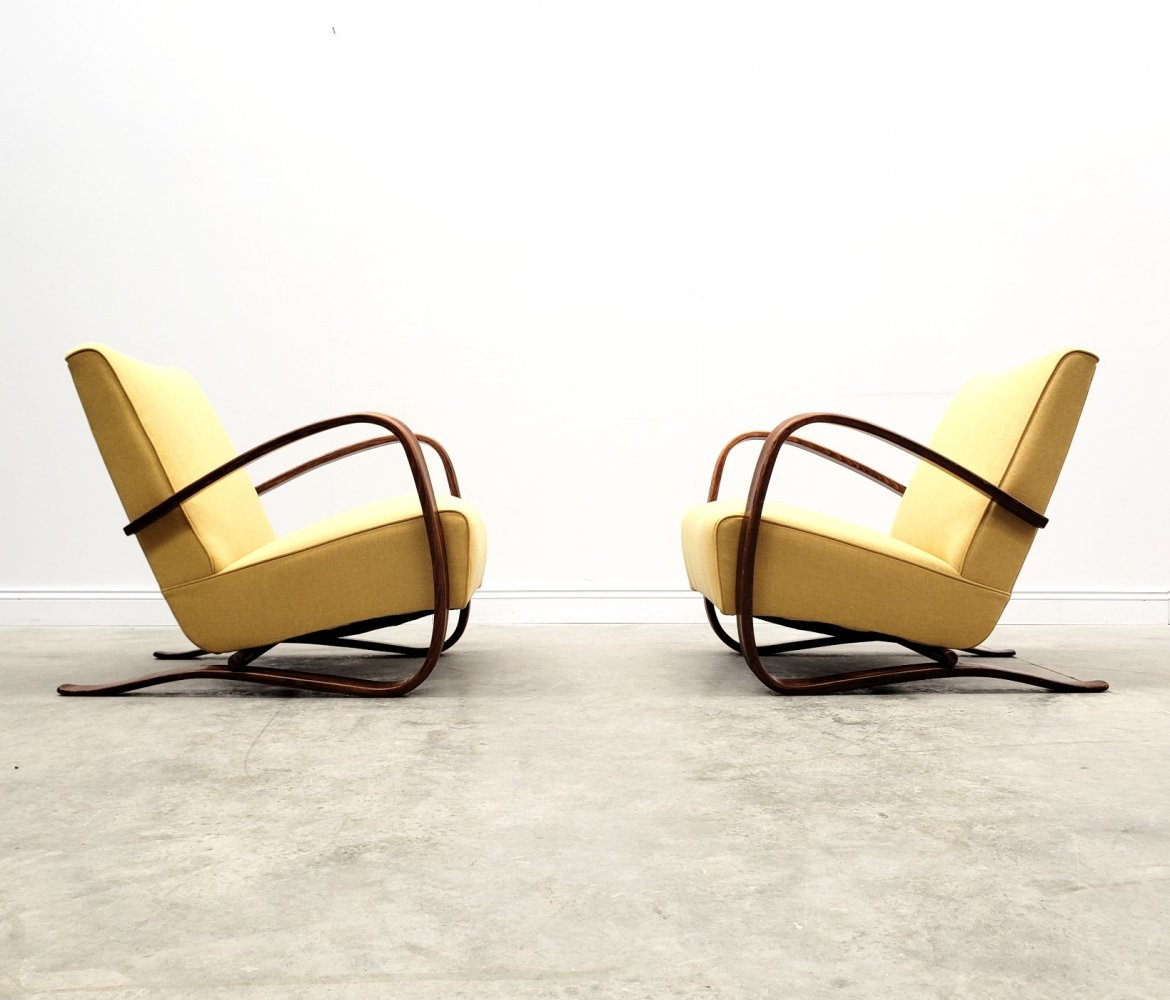 Jindrich Halabala for Thonet H-269 Bentwood Armchair in Yellow, 1930