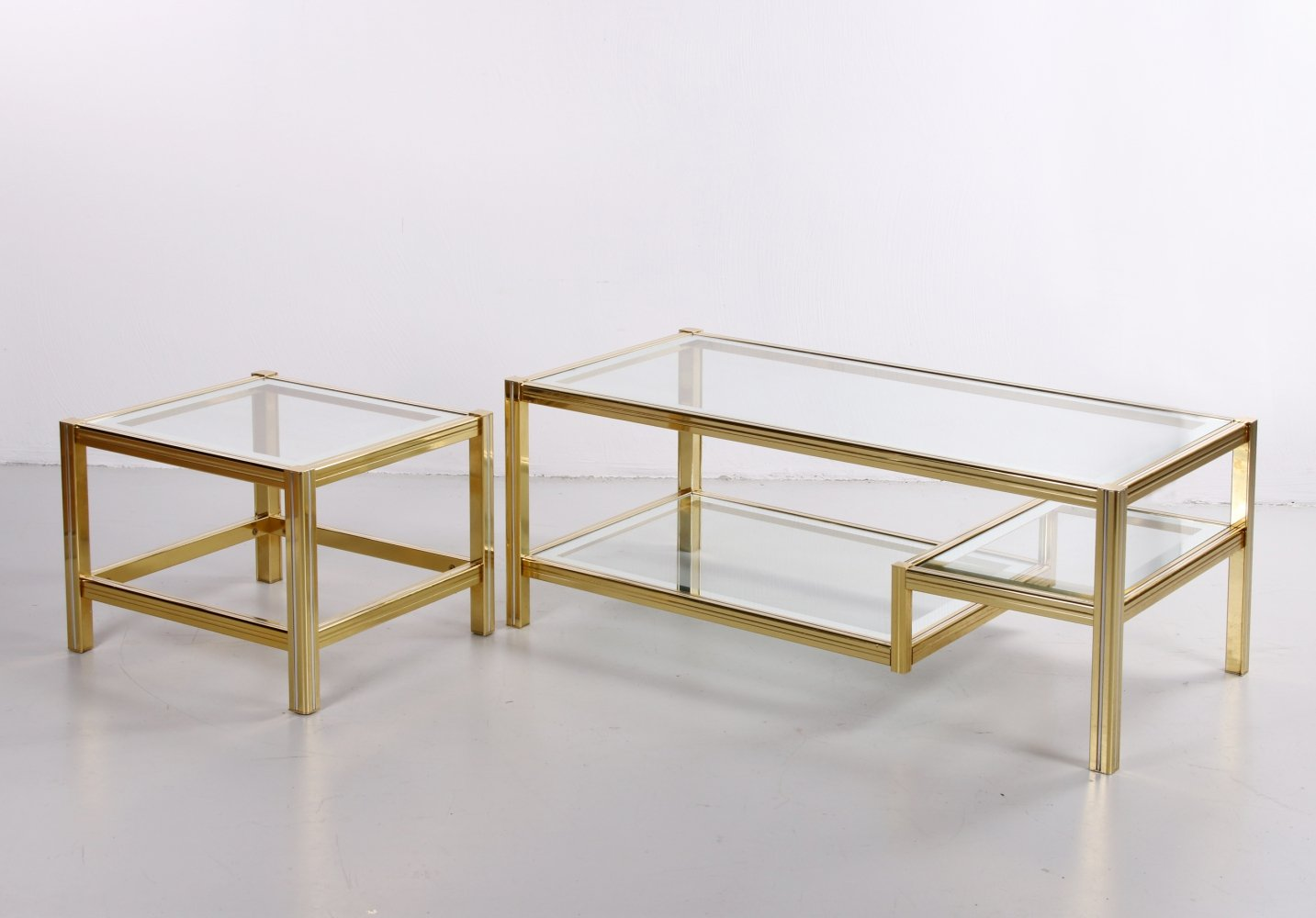 Hollywood Regency Coffee table with side table, 1970s