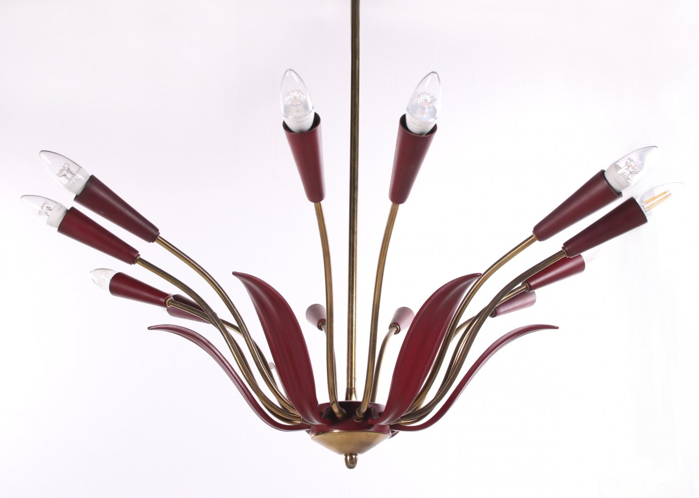 Mid Century French Chandelier in red, 1960s