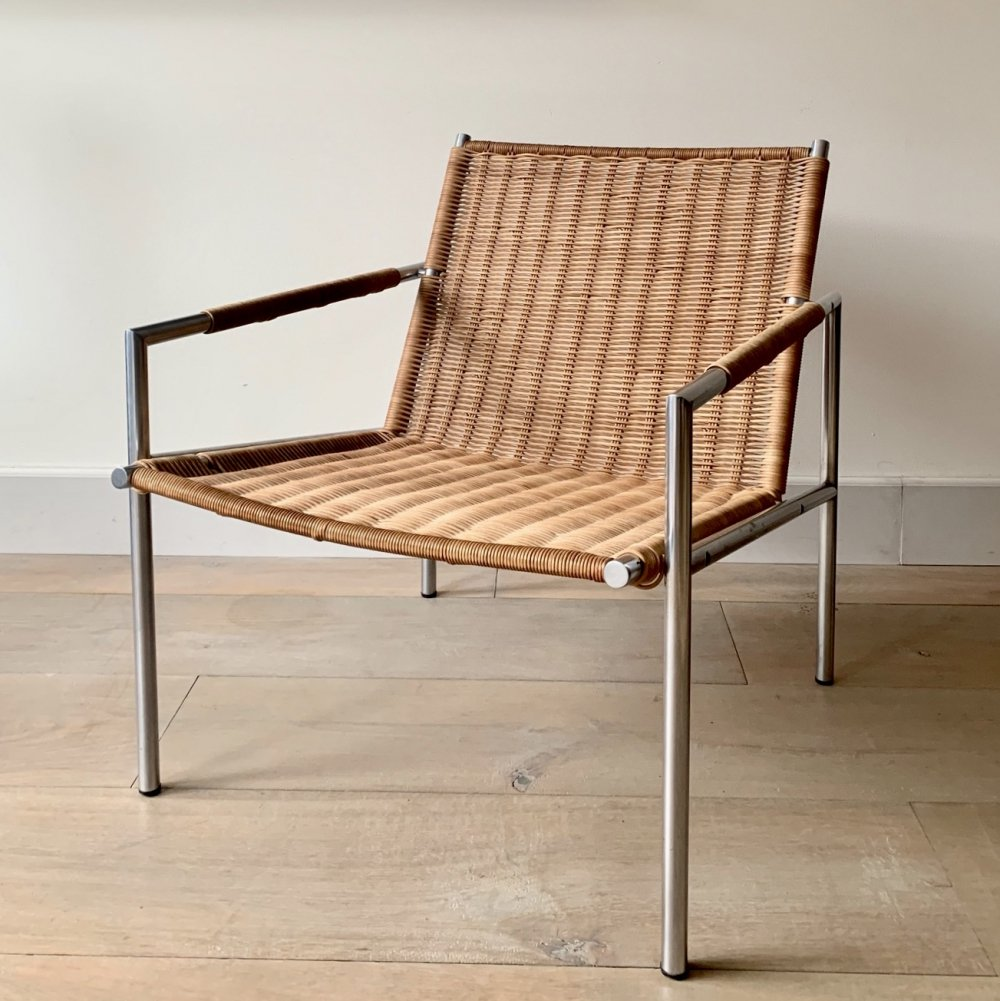 Early edition SZ01 rattan chair by Martin Visser, 1960s