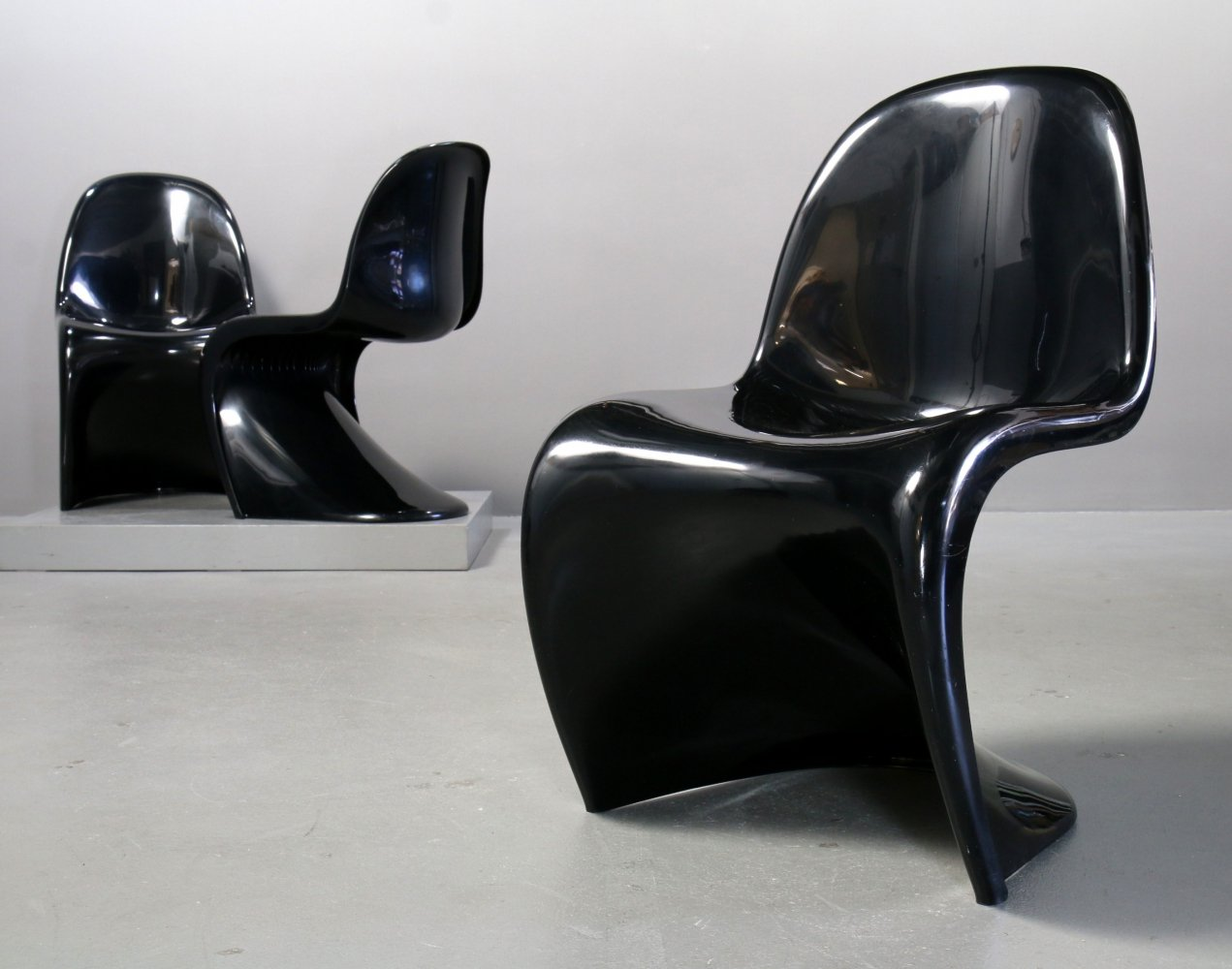 Black second series Panton chairs by Vitra, 1970s
