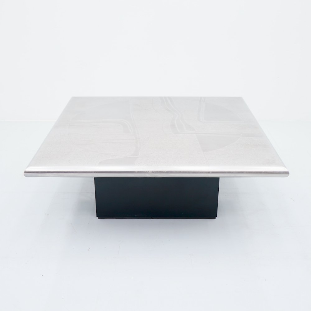 Coffee Table with Etched Metal Table Top, 1970s