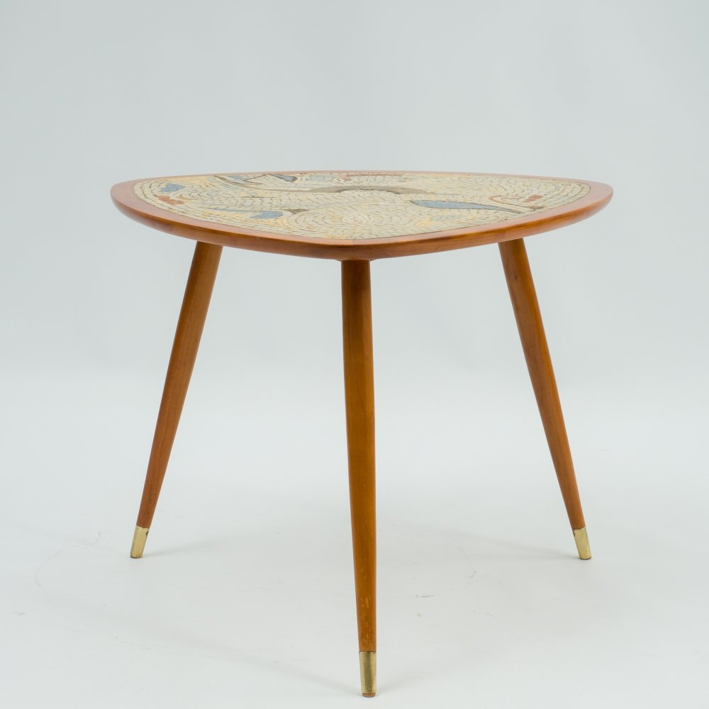 Vintage 1950s coffee table with mosaic