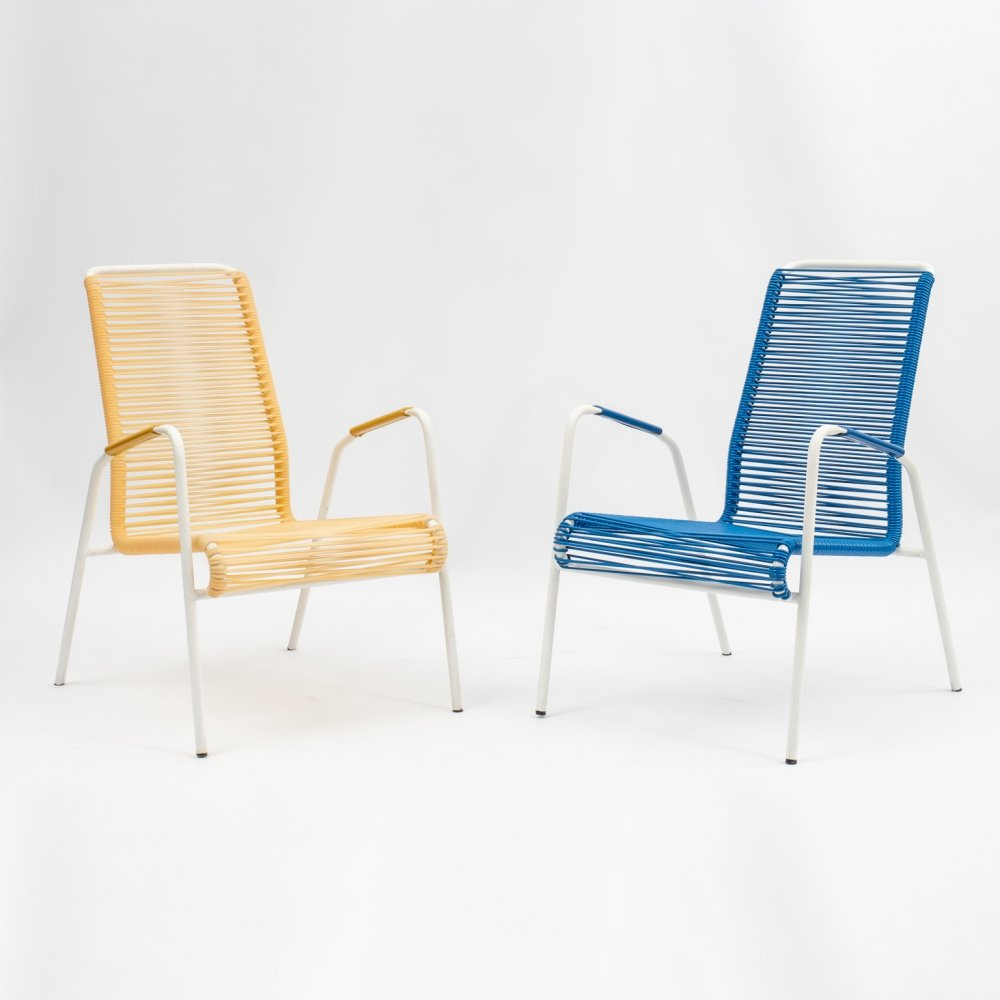 Vintage Scoubidou armchairs in yellow & blue, 1950s