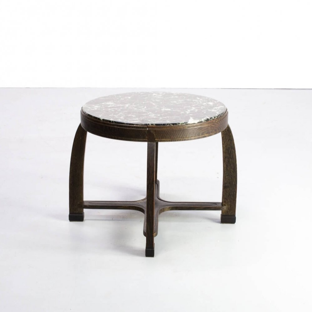 Pure Art Deco round sidetable with marble table top