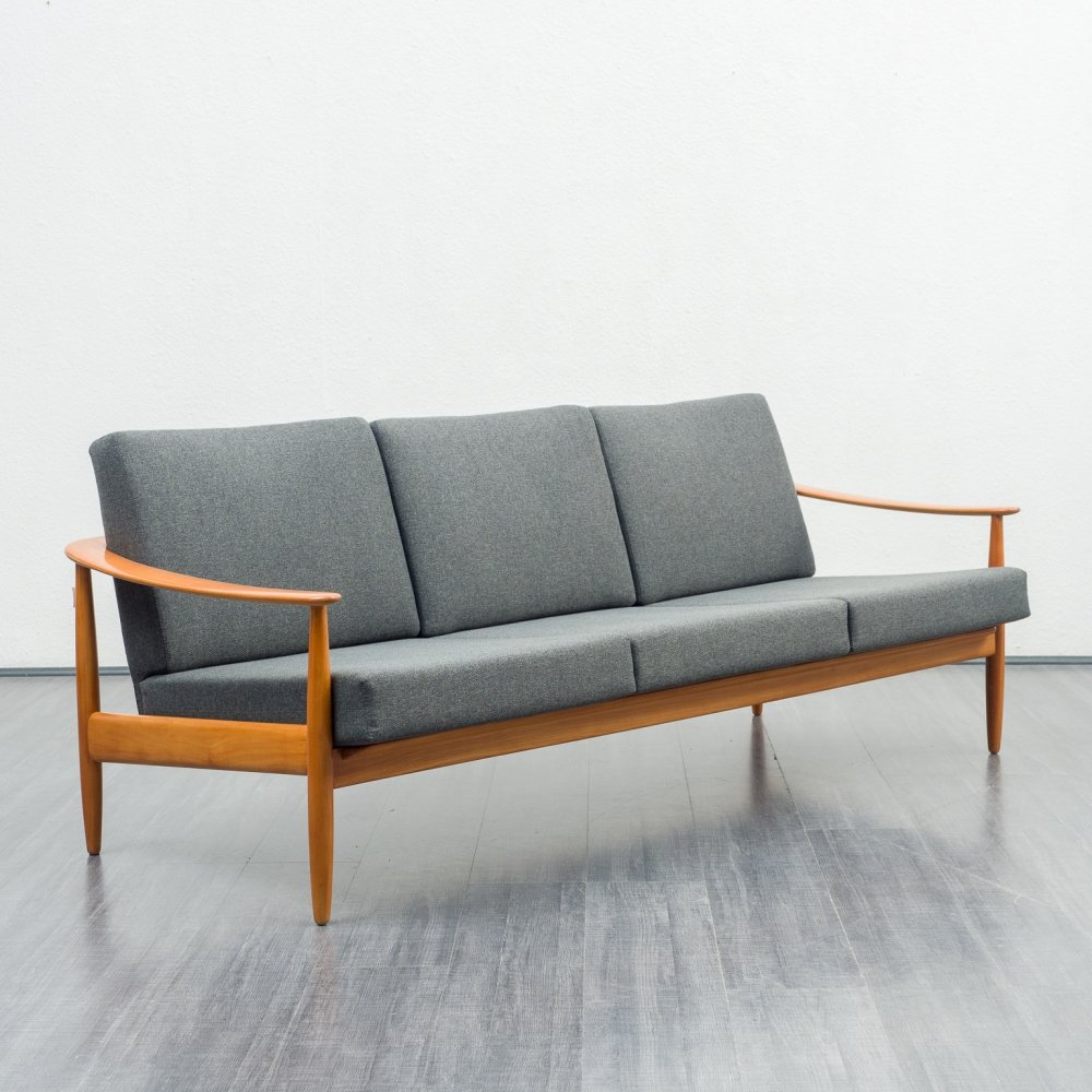 Shapely 1960s sofa in solid beechwood